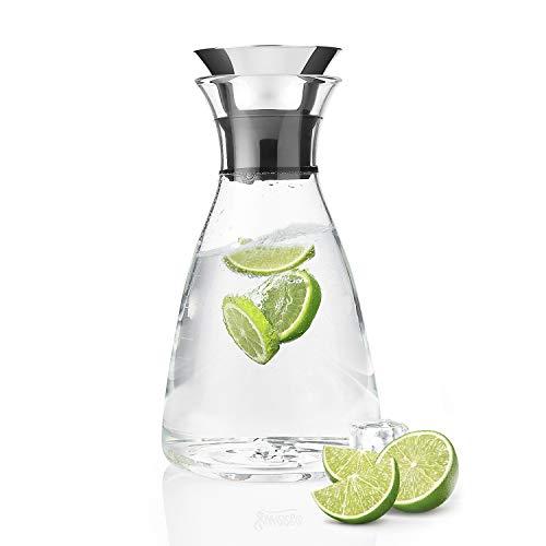 Sweese Karaffen - 1000ml Wasserkrug Hitzebeständigkeit Wasserkaraffe mit Edelstahl und Silikon Tropf-Freie Lippe, Glaskaraffe Serving Hausgemachte Säfte und Eistee, Wein oder Glas Milchflaschen