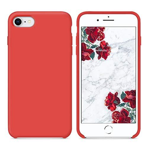 SURPHY Cover iPhone 8, Cover iPhone 7, Custodia iPhone 8 7 Silicone Slim Cover Antiurto con Morbida Microfibra Fodera, Ultra Sottile Cover Case per iPhone 8 iPhone 7 4.7 Pollici, Rosso