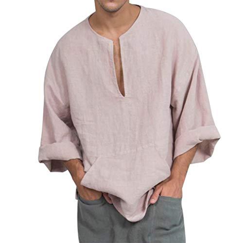 Hibote Leinenhemd für Männer Leinenhemd Langarm Freizeithemd Einfarbig Kragenlose Top Lose Bluse Business Shirt Weiche Bequeme Atmungs - Kragenlos Bluse