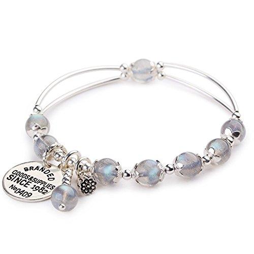 Z&HA Damen Charm Armband Labradorit Retro Mondstein Armbänder S925 Silber Anhänger Natural Grey Stretchable Crystal Schmuck Feinen Geschenk,HA0021