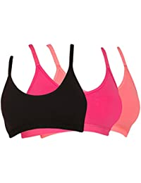 Tweens Racer-Back Wirefree Sports Bra with Removable Pads Pack of 3