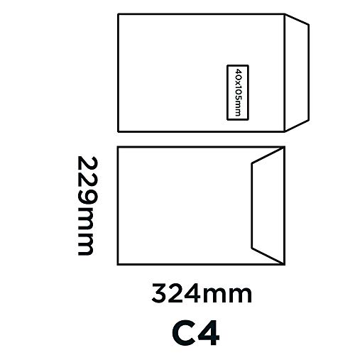 Sobres autoadhesivos con ventanilla Blake C4, 324 x 229 mm, 250 unidades color blanco