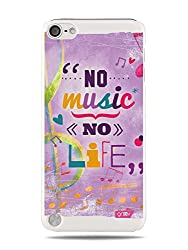 "Grüv Premium Case - ""Fun Cool Happy Cheerful Quote : Music Is Life"" Design - Best Quality Designer Print On White Hard Cover - For Apple Ipod Touch 5 5g"