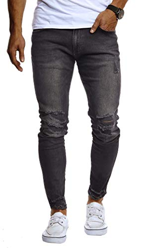 LEIF NELSON Herren Hose Jeans Stretch Jeanshose Chino Cargo Hose Jogger Freizeithose Slim Fit LN9145; W36L30, Schwarz