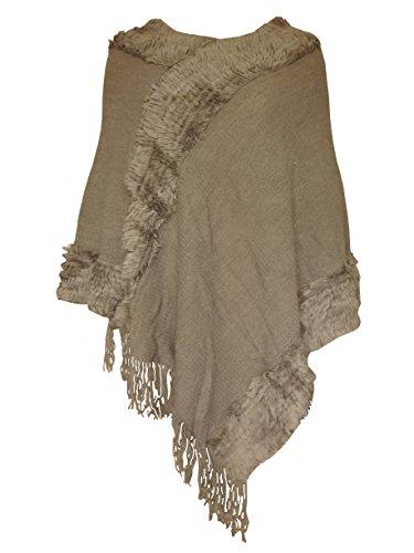 Morbido elegante e poncho in finta pelliccia a maglia pullover per donna & donna taglia 8a 20 Mocha