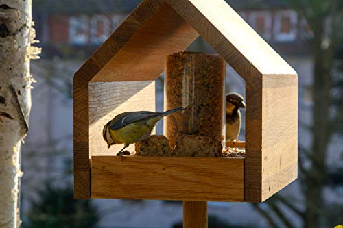 Luxus-Vogelhaus 46601e Eiche-Vogelfutterhaus mit Ständer, Satteldach, Futtertablett und Silo - 8