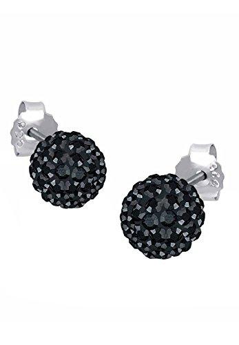 Elli Damen-Ohrstecker Kugel Funkelnd Elegant silber 925 Swarovski Kristall schwarz