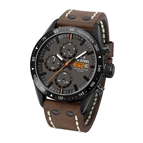 TW Steel Unisex Erwachsene Chronograph Quarz Uhr mit Leder Armband TW995