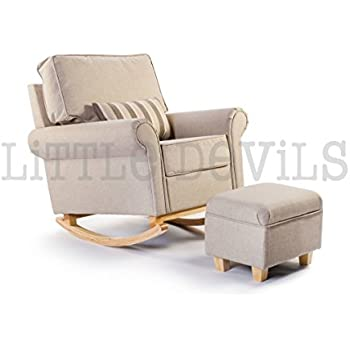 The New Cream Beige Hush Hush Rocking Nursing Glider Chair Converts Into Stunning