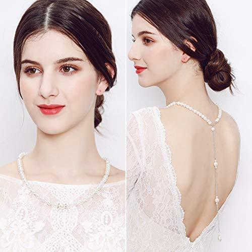 hopewey Perlen Quaste Kulisse Halskette Körper Kette Hochzeit Schmuck Rückenfreies Kleid Zubehör Rhinestone-HochzeitsHW NS-J5906