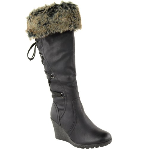 LADIES WOMENS FUR LINED MID WEDGE BOOTS HIGH HEEL WARM WINTER KNEE...