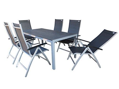 Doppler 7-teilige Luxus Aluminium Polywood Textilen Gartenmöbelgruppe Natal XL, 6 mehrfach...