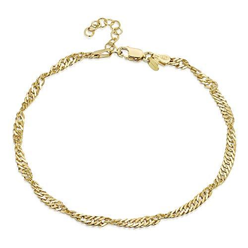 Amberta 925 Sterlingsilber Vergoldet 18K Fußspange - 3,6 mm Singapurkette Fußkettchen Armband - 22 bis 25,5 cm - Flexibel Verstellbar