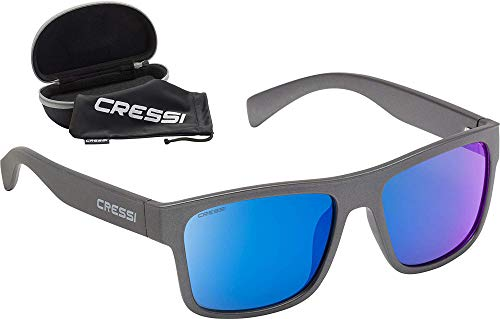 Cressi spike sunglasses - occhiali da sole sportivi unisex adulto, grigio/lenti specchiate blu