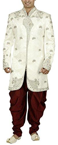Sargam Nx Men's Jacquard Sherwani (White, 40)