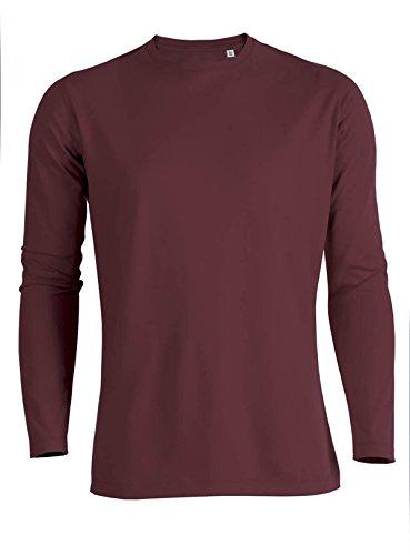 YTWOO Herren Langarmshirt (Longsleeve) Rundhals-Ausschnitt aus Bio-Baumwolle Schwarz bis XXL und Slub-Baumwolle in verschiedenen Farben,nachhaltige und faire Mode Organic Burgunderrot