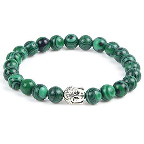 cameleon-shop?Armband dehnbar tibetischen ausziehbar Perlen Damen Herren?Stein Malachit grün 8mm?Kopf Buddha?Länge 17,5cm