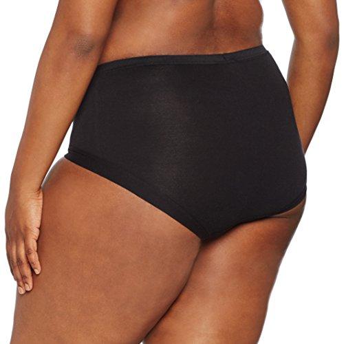 Ulla Popken Damen große Größe bis 58+, Büro-Slip , Jersey-Unterhose , Uni , Basic Unterwäsche , kein Einschneiden , 497459 Schwarz (schwarz 10)
