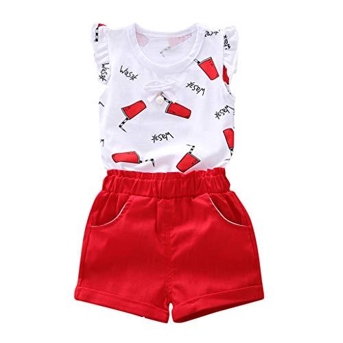 Faux Silk Coat (feiXIANG Baby Tops Shorts Set Outfit Ärmellos T-Shirt Mädchen Kleidung Sets 6 Monate -4 Jahre (Rot,110))