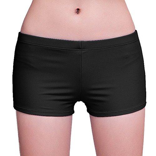 Short d'été maillot de bain, suivez les traces de la circulation sécurité plage shorts pantalon de yoga-YU&XIN Black