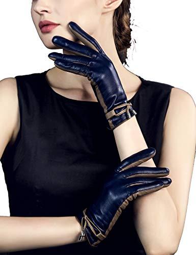 Autofahrer Kostüm - YISEVEN Damen Touchscreen Schaffell Lederhandschuhe Seil