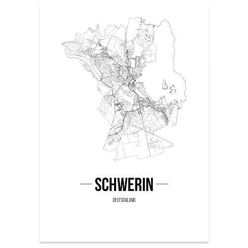JUNIWORDS Stadtposter, Schwerin, Wähle eine Größe, 40 x 60 cm, Poster, Schrift B, Weiß
