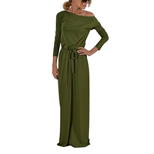Lover-Beauty Kleider Damen Elegant Langarm Boho-Kleid Strandkleid Maxikleid  Langarmkleid mit Gürtel 6cfd76be62
