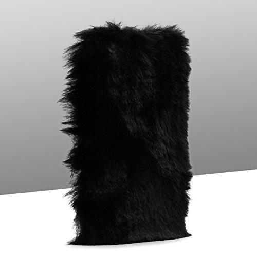 Urcover® Apple iPhone 7 / 8 FELLCASE Fake Fur in Weiß | warm flauschig weich Plüsch Hülle | Fell Cover kuschelig | Kunst-fell Schutz-hülle Smartphone Zubehör Back-Case Cover Tasche Schwarz