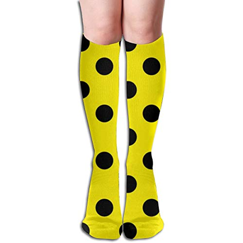 Pillowcase Wholesale Canary Yellow Polka Black (And A Half Inch) Dots Women Tube Knee Thigh High Stockings Cosplay Socks 50cm (19.6 inch)