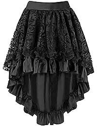 Oudan Falda de Encaje de Mujer de Mediana Edad Steampunk Gothic Lace-up  Vestido de 3684a06f49