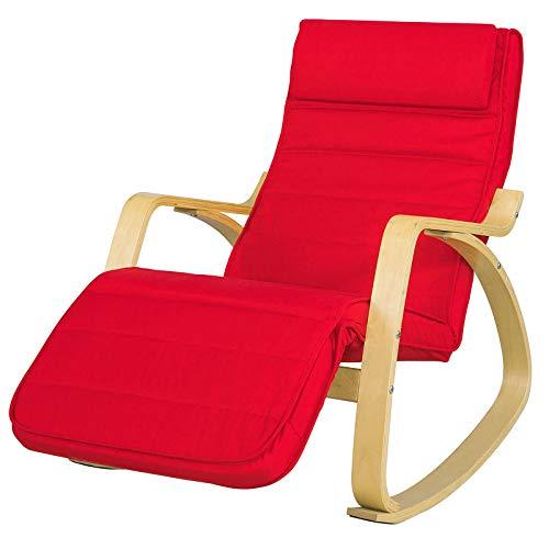 SoBuy FST16-R Neu-Schaukelstuhl 5-Fach verstellbares Fussteil Schwingsessel Relaxsessel Belastbarkeit 150kg Birkenholz Rot