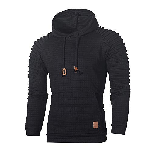 VECDY Herren Bluse,Räumungsverkauf-Men\'s Autumn Long Sleeve Plaid Hoodie Hooded Sweatshirt Top Tee Outwear Blouse Lässige, hübsche Kapuzenpullover(schwarz,54