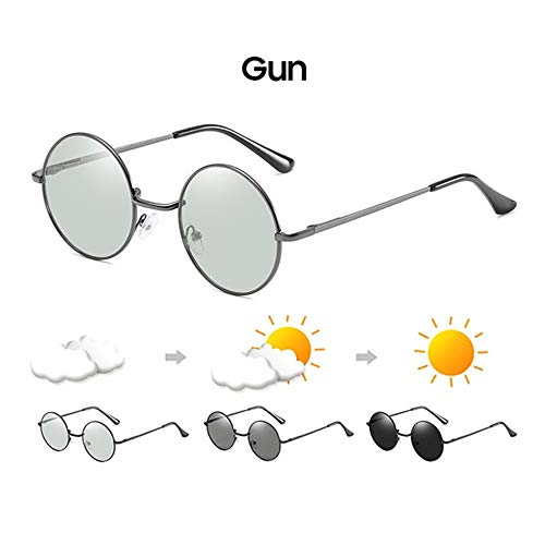 Wang-RX Round Men Photochromic Gun Frame Photochrome Sonnenbrille 2019 Chameleon Driving Women Chromatism Sun Glasses Brillen