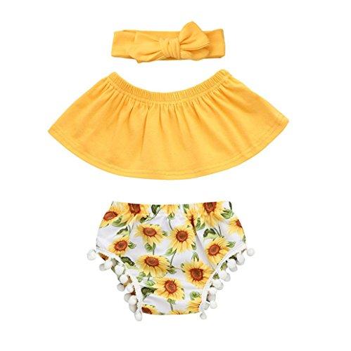 , Kleinkind Neugeborenen Baby Mädchen Sun Flower Outfits Kleidung Strampler Overall + Quaste Ball Shorts + Stirnband Set für 0,5 bis 2 Jahre Altes Mädchen (70, Gelb) (Baby Verkleiden Outfits)