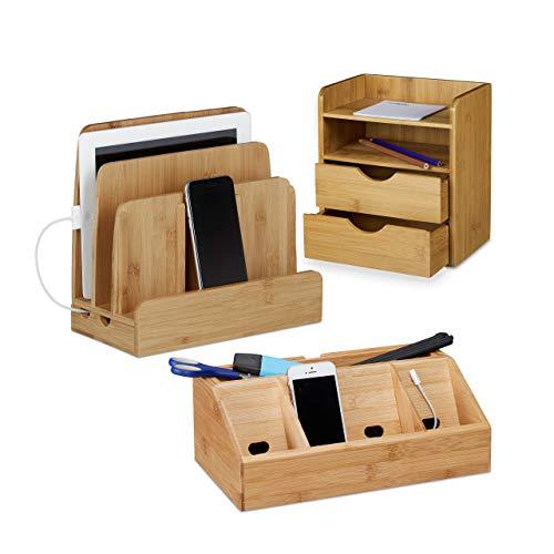 Relaxdays 3 TLG. Schreibtisch Set, aus Bambus, Briefablage mit Schubfach, Schreibtisch-Organizer mit Handyhalter, Ladestation