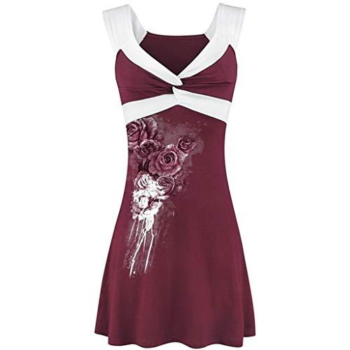 Damen T Shirt, CixNy Bluse Damen V-Ausschnitt Ärmellos Kurzarm Druck Kreuz Weste Sommer Pullover Oberteil Tops (Wein, ()
