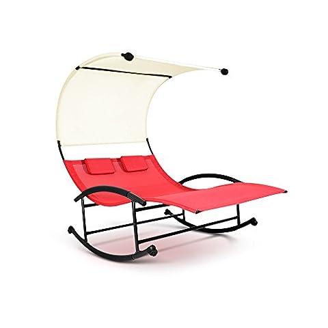 ikayaa Double Chaise Longue à BasculeTransats Piscine de Jardin en Plein Air Couché Matériel Teslin Lit Avant et Après Agitation PL301