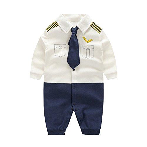 its Langarm Strampler Jungen Smoking Baby Baumwolle Gentleman Outfit Bowknot Weihnachts/Taufstrampler Kleidung, 6-9 Monate, Weißer Kapitän (Weihnachten-jungen-kleidung)