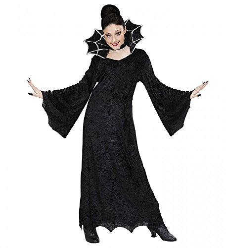 -Kostüm mit Spinnennetz Stehkragen für Mädchen Kleid Spinne Vampir , Kindergröße:128 - 5 bis 7 Jahre (Vampir Kostüme Für Teenager-mädchen)