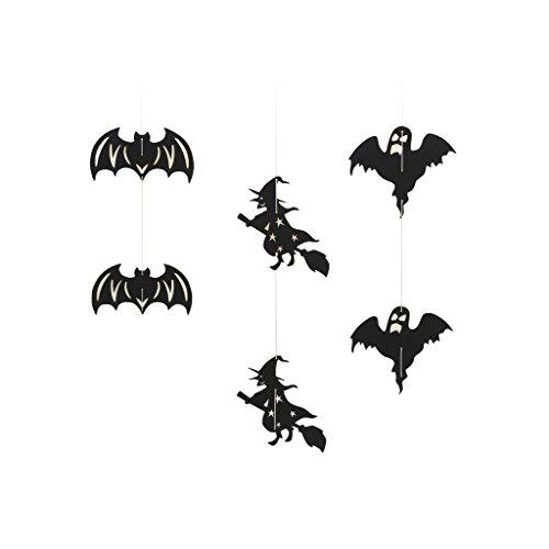 ande Verschiedene Form Hängend Dekorationen für Halloween Party - Schwarze Fledermaus Hexe Geist, 12.5 x 7.5 cm (Hängende Hexe Dekoration)