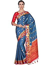 04270046d91bbf Mimosa Art silk saree Paithani style With Contrast Blouse Color  Blue  (4286-345