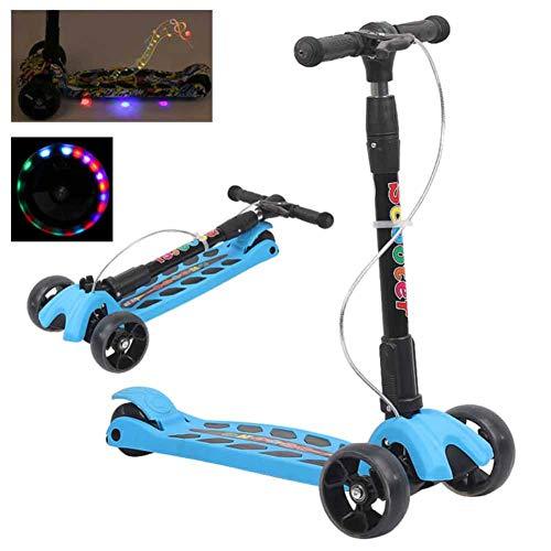 CHIYEEE Kinderroller Musik Dreiradscooter mit PU LED Leuchtenden Räder und 3 Stufen Einstellbare Höhe Doppel-Hinterrad Big Wheel für Kinder 2-10 Jahre alt