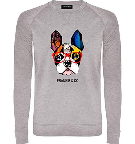 FRANKIE & CO Sudadera de Hombre Gris Bulldog Francés - 100% algodón - Tallas S...