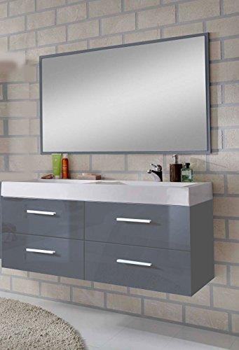#SAM® Design Badmöbel-Set Hannover 2 teilig, hochglanz grau, 120 cm, Mineralgussbecken in weiß, Badezimmer mit Softclose-Funktion, bestehend aus 1 x Spiegel, 1 x Waschplatz#
