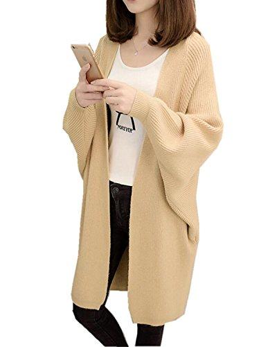 SANKU Femmes Casual Longue Manche Longue Gilet Tricot Chandail Cardigans Pull Sweaters Manteau Coat Bonnetterie Veste Outwear Cape Hiver Kaki