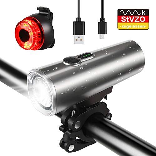 Nasharia Fahrradlicht LED Set, StVZO Zugelassen USB Wiederaufladbare LED Fahrradbeleuchtung Set, Fahrradlampe Set inkl, IPX5 wasserdichte Frontlicht und Rücklicht, Lithium Aufladbare Fahrrad Lichter