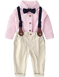 fd0607d423408 ZOEREA 2 Piezas Bebé Niño Ropa Conjuntos Camisas a Rayas Manga Larga +  Pantalones Infantil Niños Trajes Conjunto de Fiesta Boda…