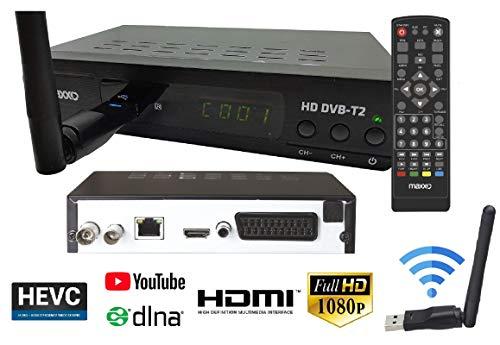 Top Full Set (Maxxo Set-Top-Box-Empfänger mit WiFi - Funktion YouTube und DLNA, DVB-T2 / T H.265 / HEVC / H.264 Full HD-1080p Set-top Box Deutsches Menü einfache Installation und Kontrolle)