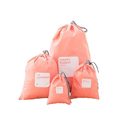 Sukisuki étanche réutilisable Voyage sous-vêtements Cosmetics Ensemble de Sacs de Rangement avec Cordon, Portable à la poussière étui Organiseur Rose