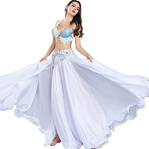 MoLiYanZi Bauchtanz Kleider für Frauen Leistung Professionel Bauch Wettbewerb Kostüm BH + Gürtel + Rock, White, - White Jazz Kostüm